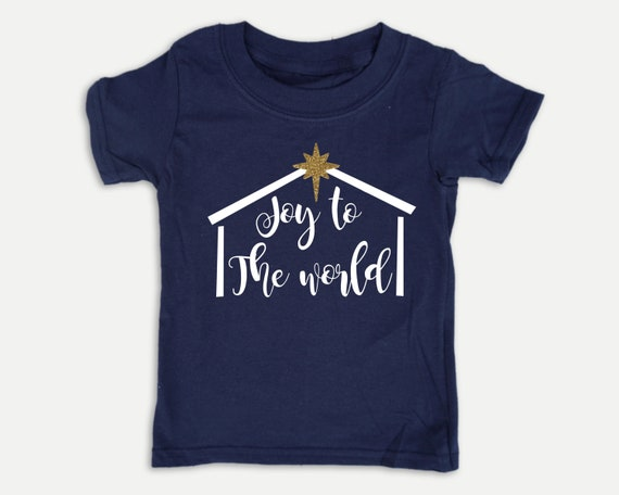 Joy to the World Nativity t-shirt with Glitter Star, Christmas kid shirt in youth, toddler and infant sizes