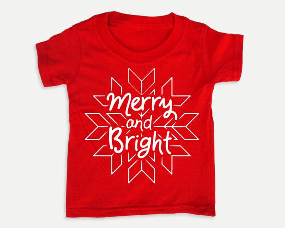 Merry and Bright Snowflake Tee, Toddler Youth Christmas t-shirt