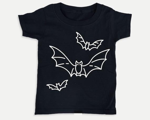 Bats Halloween Glow in the Dark toddler baby shirt, Halloween tshirt costume, Halloween toddler costume