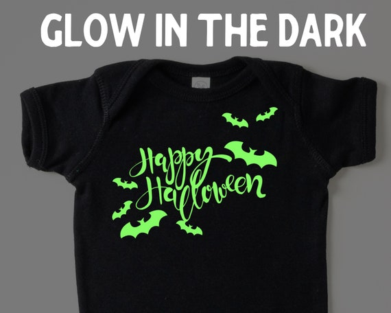 Glow in the dark Happy Halloween infant bodysuit, babys first halloween, Gender neutral baby halloween