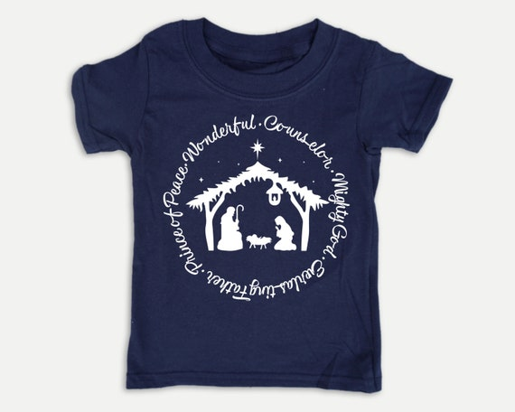 Names of Jesus Nativity t-shirt, Christmas Nativity kid shirt in youth, toddler and infant sizes