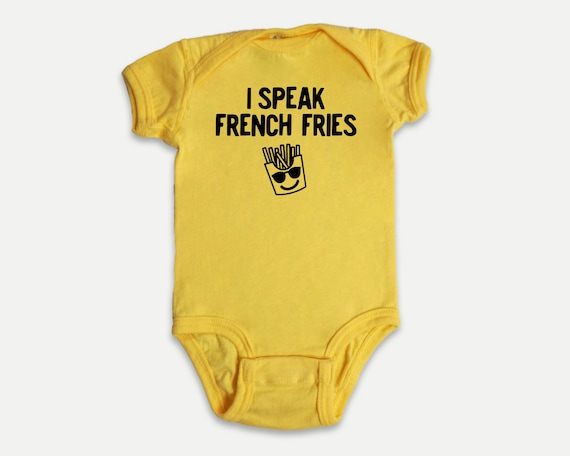 I Speak French Fries Baby Bodysuit, Funny Foodie baby shower gift