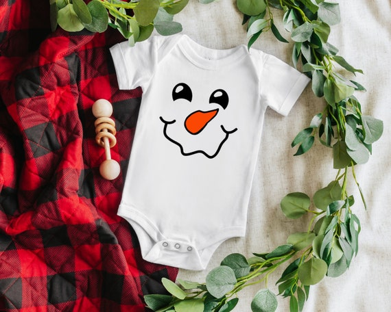 Snowman face baby bodysuit, Christmas Baby Clothes, Winter baby shower gift