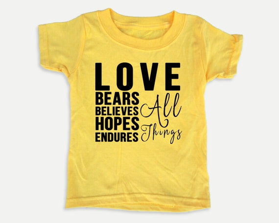 Love Bears all things toddler tee, Christian toddler shirt with Bible verse, Sunday school shirt, Bible t-shirt for toddlers,