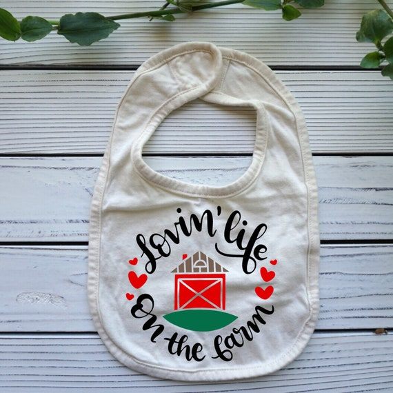 Loving Life on the Farm baby bib, Farm theme baby gift, Farm Country baby shower gift, Baby