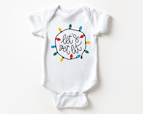 Let's Get Lit Baby Outfit, Christmas Baby Clothes