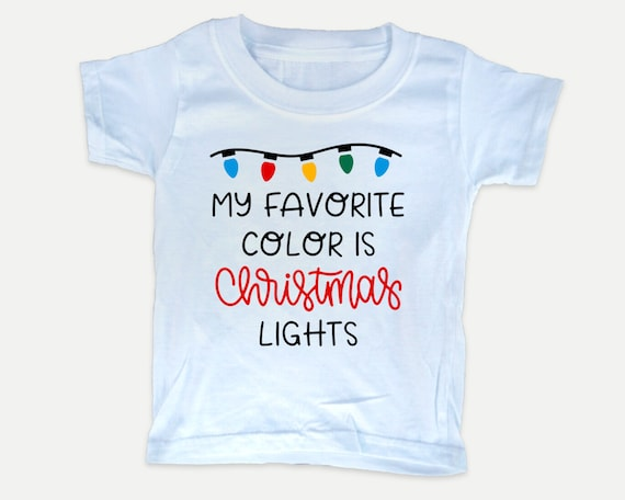 My Favorite Color is Christmas LightsToddler Tee, Christmas holiday toddler shirt