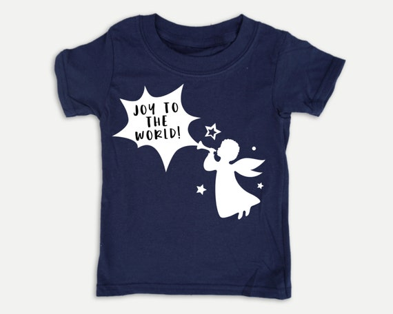 Joy to the World Angel t-shirt, Christmas kid shirt in youth, toddler and infant sizes