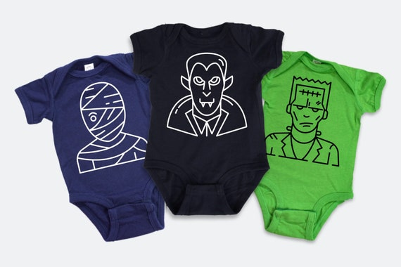 Set of 3 Halloween baby outfits, Dracula, Mummy, and Frankenstein, Glow in the Dark halloween baby tee
