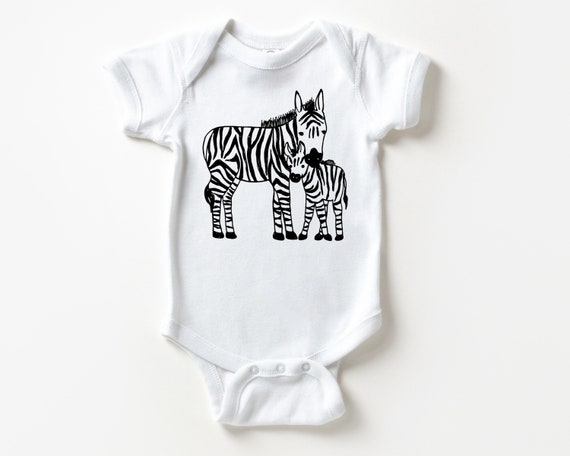 Zebra Mother and Baby Outfit, Zoo Animal Baby clothes, Baby Christmas Stocking Stuffer