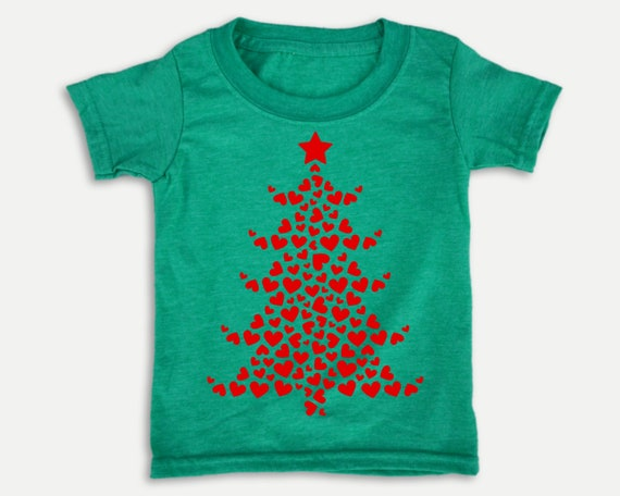 Red Hearts Christmas Toddler Tee, Christmas holiday toddler shirt