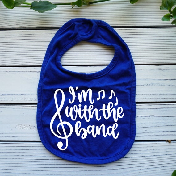I'm With the Band baby bib, Funny Music baby gift, gender neutral baby clothes, Musical baby shower gift