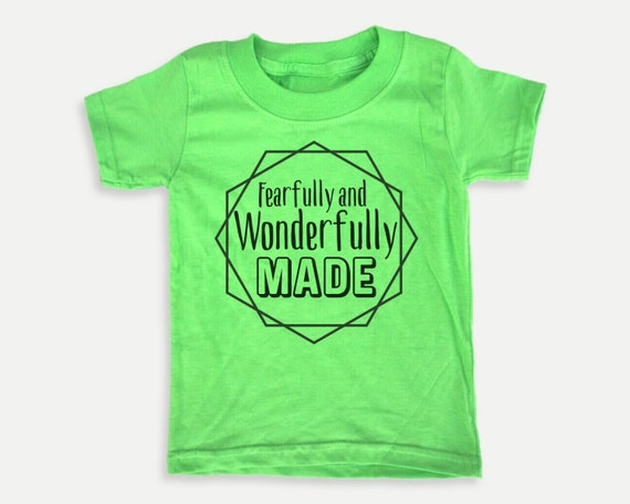 Fearfully and Wonderfully Made Toddler Tee, Christian Bible t-shirt for toddlers, Christian  Gift