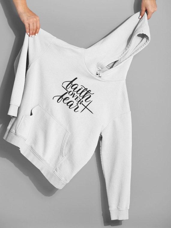 Faith Over Fear Hoodie Jacket, Christian hoodie, Christian Christmas Gift