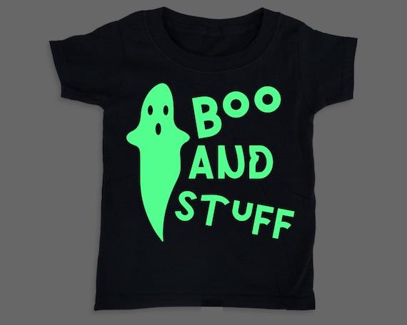 Boo and Stuff! Glow in the Dark toddler baby shirt, Halloween tshirt costume, Halloween toddler costume