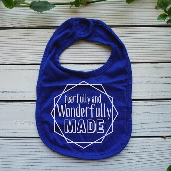 Fearfully and Wonderfully Made baby bib, Psalm 139:14 Bible verse baby bib, christian baby shower gift, Baby