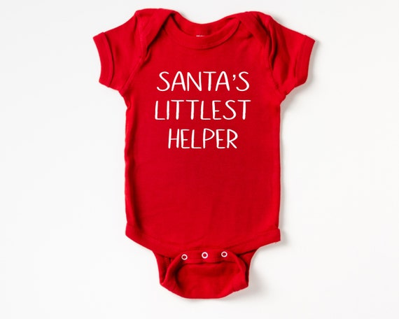 Santa's Littlest Helper Baby Outfit, Christmas Baby Clothes