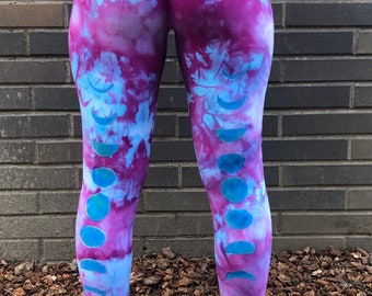 15c39d5ca1783e Tie Dye Leggings With Blue Moon Cycle