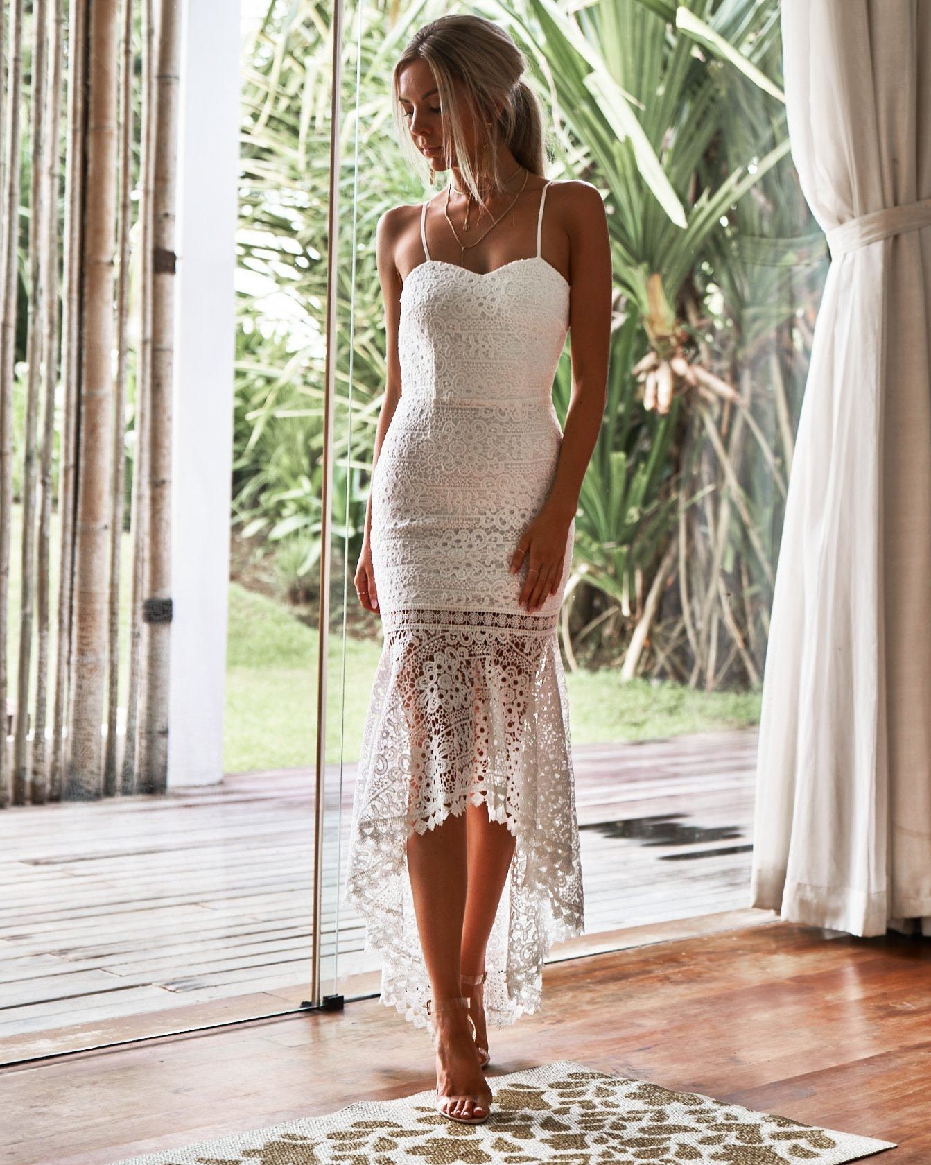 Mesina Kleid - weiß - Strand Brautkleid, Brautkleider, rückenlose  Hochzeitskleid, weiße Spitze Brautkleid, weißes Kleid für Frauen
