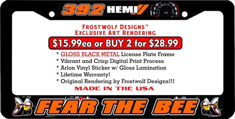 SCAT PACK FEAR THE BEE 392 HEMI Orange New Custom License Plate Frame