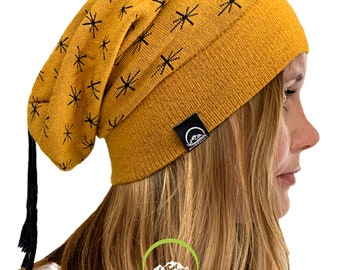 933b0950287 Truzealia Slouchy Beanie - Unisex - Merino Wool - Made in New Zealand -  Detachable Tassel