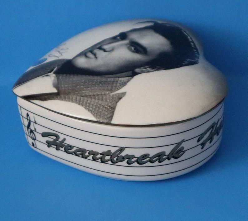Vintage Elvis Presley Ceramic Trinket Box Heartbreak Hotel Collectible Heart Official 1997