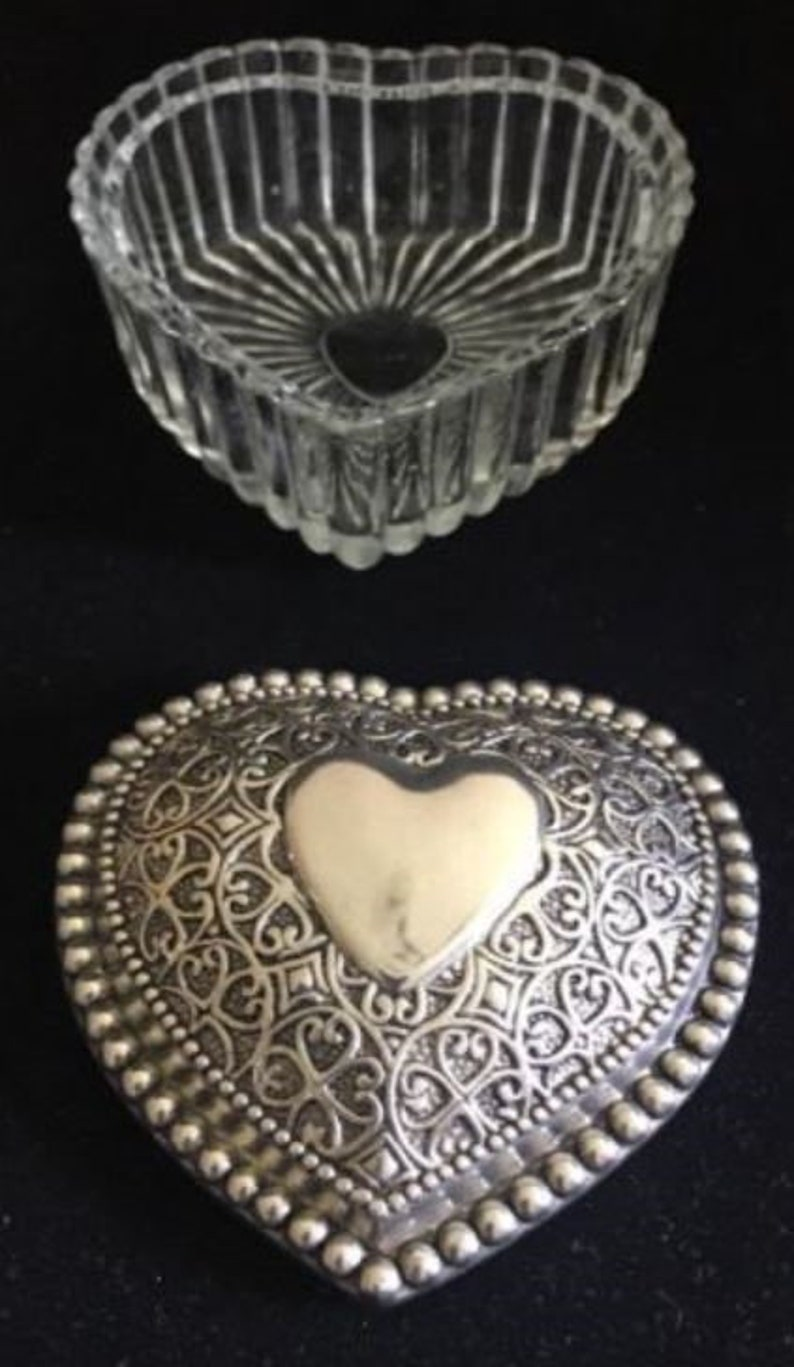 Vintage Crystal Heart-shaped Trinket Box with Heavy Silver Plated Lid