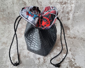 Spiderman Leather Dice Bag   Drawstring Bag   Drawstring RPG Sack   Fantasy Pouch   Cosplay Bag   Comic Pouch