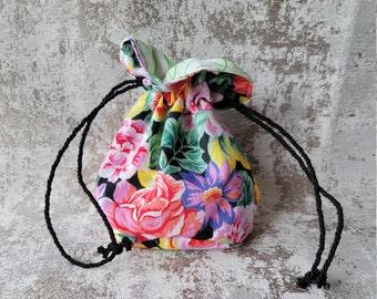 Vintage Floral Dice Bag   Drawstring Bag   Drawstring RPG Sack   Clothing Pouch   Trinket Bag