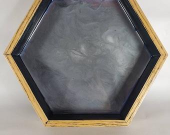 "10"" hexagon dice tray or shelf art"