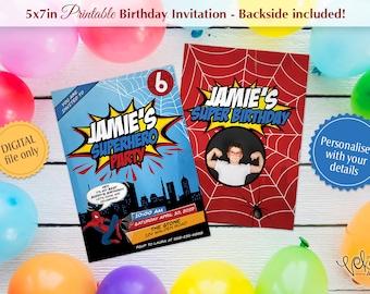 Kids Birthday Invitation Spiderman Theme