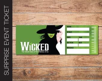 Printable WICKED Broadway Surprise Ticket. Editable Musical Theatre Faux Event Admission Souvenir Keepsake. PDF Instant Digital Download.