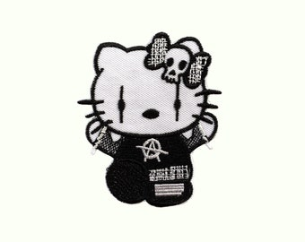 b10287ea9 Hello Kitty Anarchy Patch/Patches /Iron on Patch/Embroidered/Sew on patch/cartoon  patch
