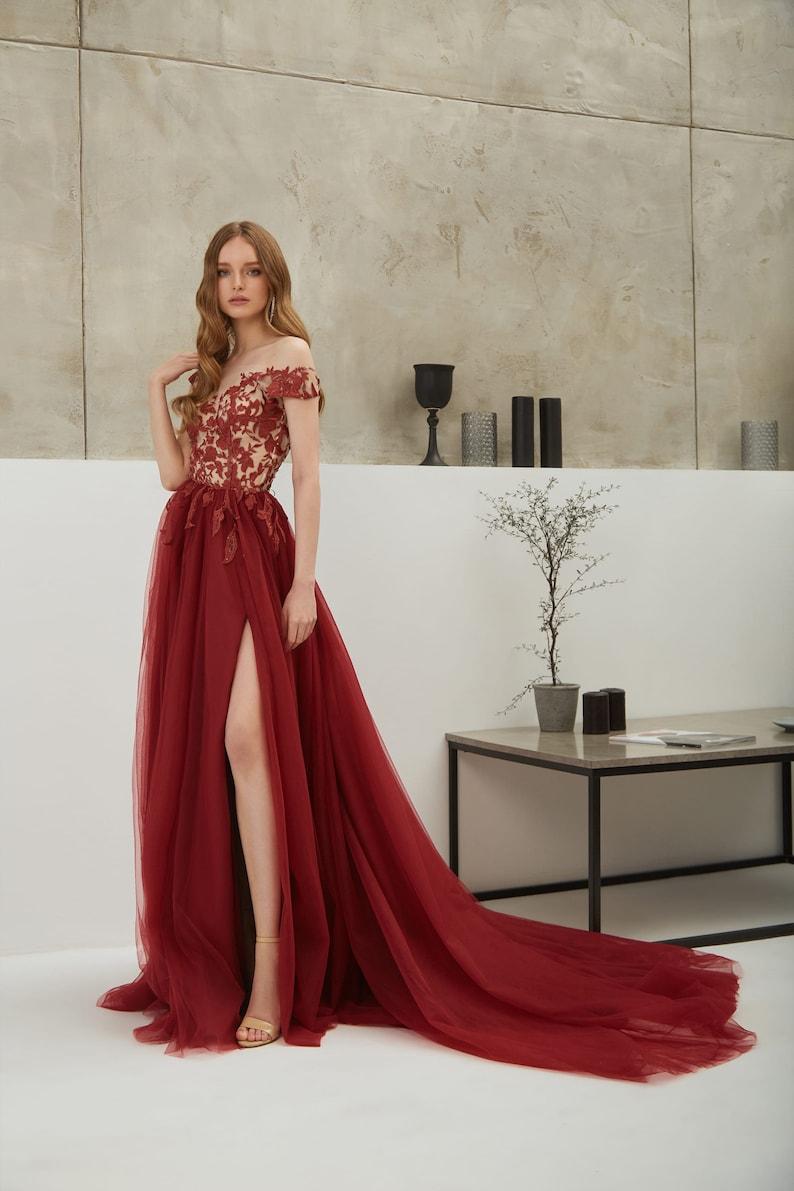 Red A line alternative Wedding dress