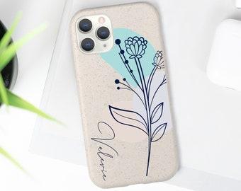 Custom 100% Biodegradable Eco-Friendly Phone Case Cover   Bamboo Fiber   iPhone 11 Pro & 12   Samsung Galaxy S20   Boho Flower Style