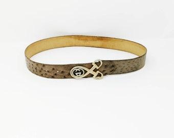 de0bda8f975 Rare Vintage Gucci Ostrich Horsebit Belt