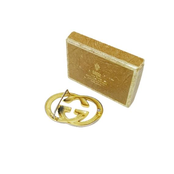 Vintage 70s Gucci Gold GG Belt Buckle - image 2