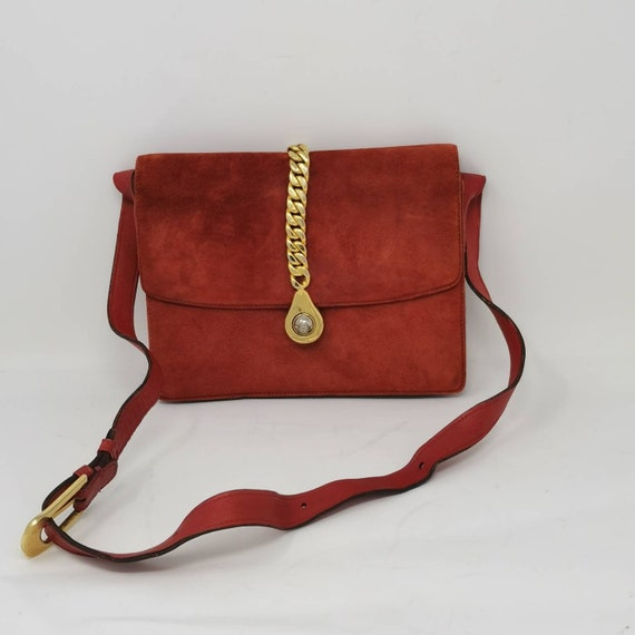 Rare Vintage 1970s Gucci Orange Suede Chain Bag