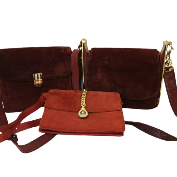 Rare Vintage 1970s Gucci Orange Suede Chain Bag - image 5