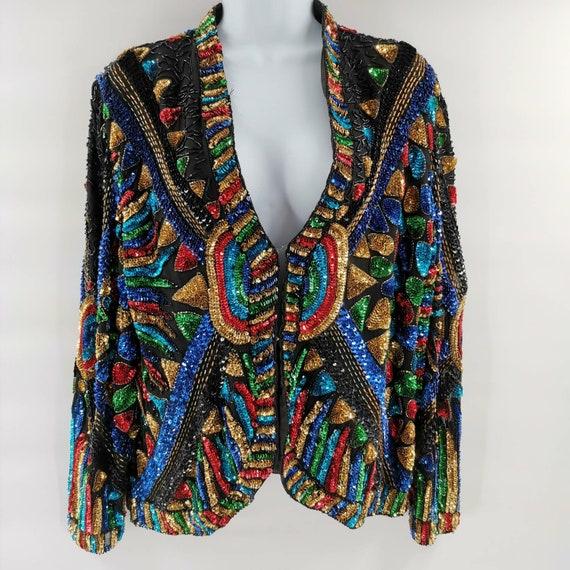 Super Groovy Vintage Rainbow Beaded Sequin Jacket