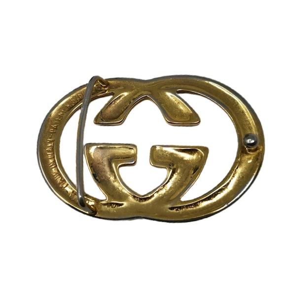 Vintage 70s Gucci Gold GG Belt Buckle - image 3