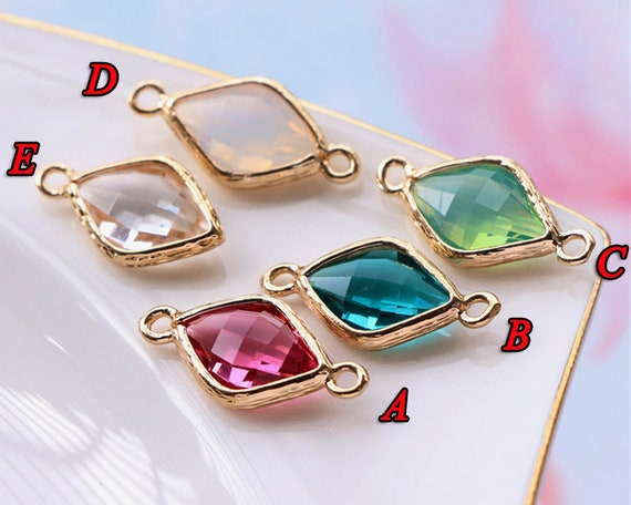 Wholesale Faceted Framed Glass Pendants Earrings Findings Connector Silver 5Pcs