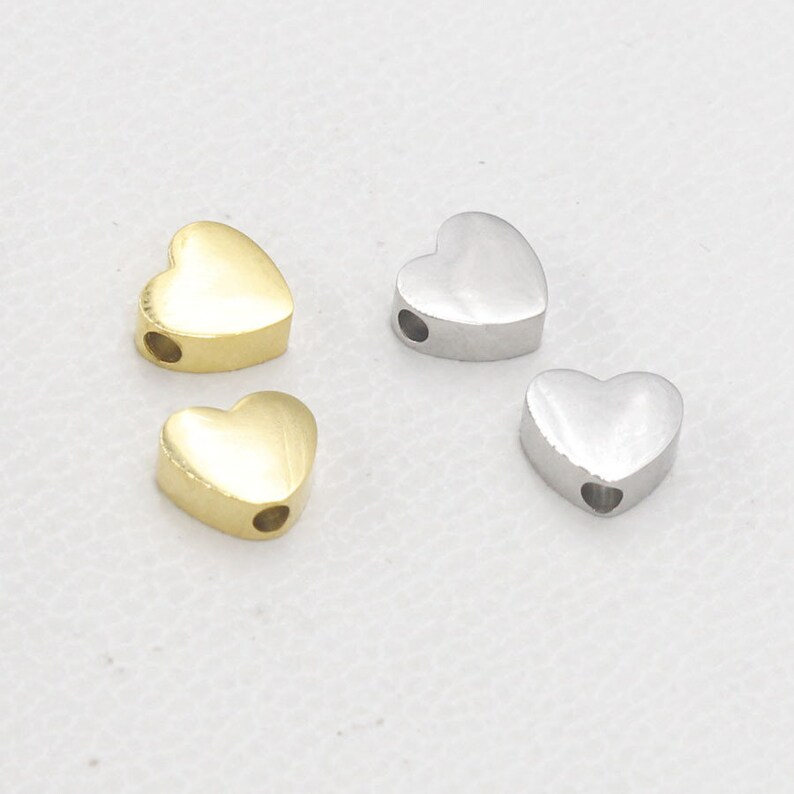 3X8mm Love Heart Small Hole Beads DIY Manual Loose Beads 1.8mm Hole,Jewelry Finding,ST49 10pcs Stainless Steel Love Heart Charm Pendants