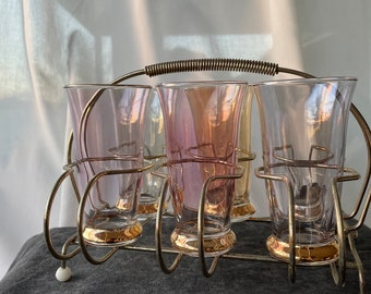 Vintage rainbow glass drinks set with wire caddy