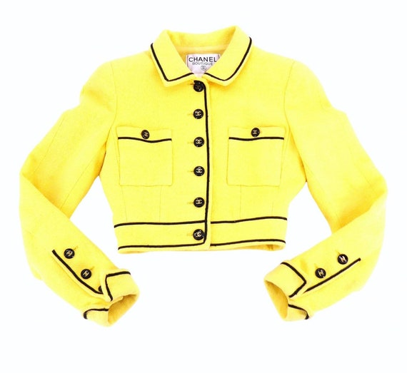 Vintage Chanel S/S 1995 yellow crop jacket