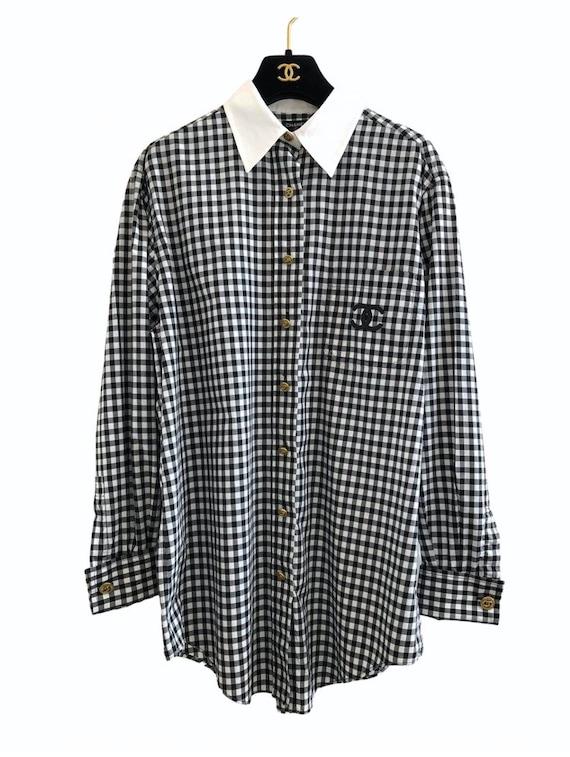 Vintage Chanel Black White Gingham Shirt