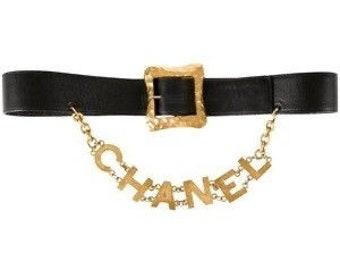 Chanel Vintage Charm Logo Leather Chain Belt