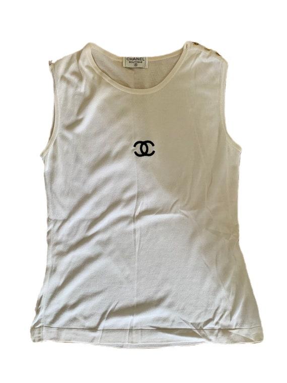 Vintage Chanel White Logo Top