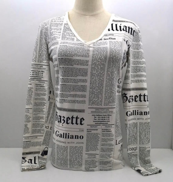John Galliano Newspaper Print V-Neck Long Sleeve S