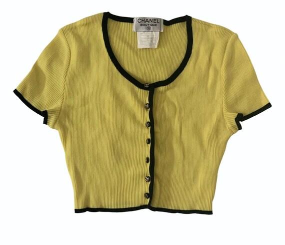 Vintage Chanel 1995 yellow crop top/cardigan